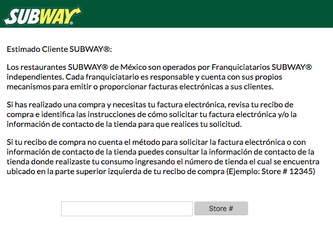 subway factura electronica